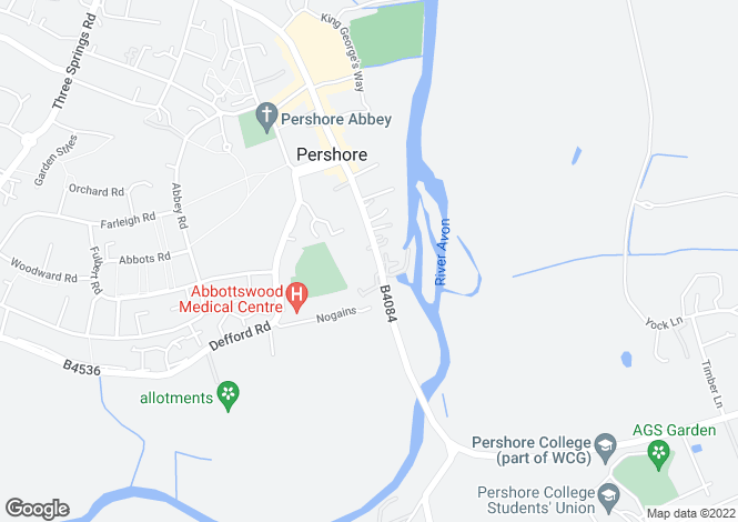 Map for Bridge Street, Pershore.