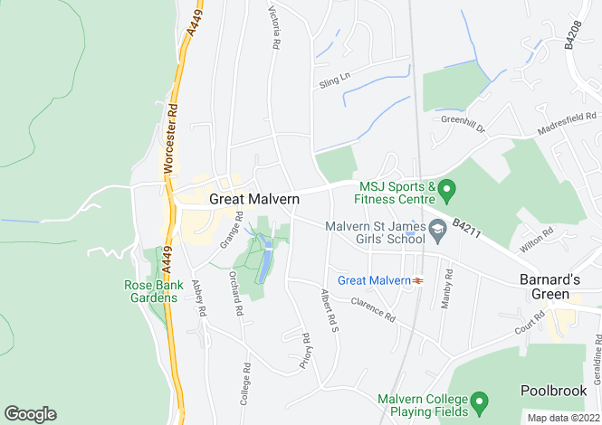 Map for The Grove, 8 Avenue Road, Great Malvern, Worcestershire