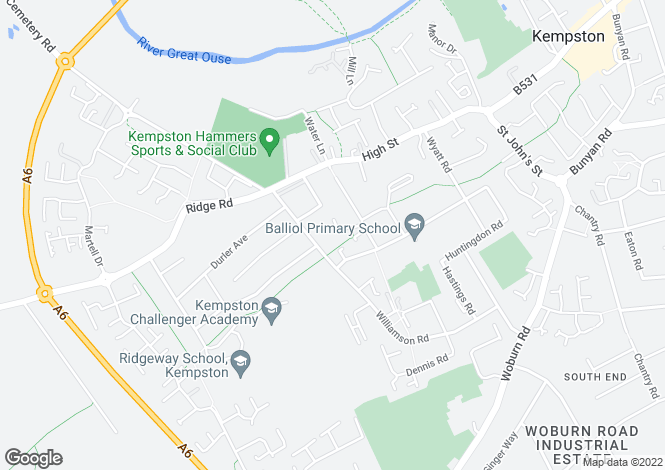 Map for Whitelodge , Kempston, Bedford