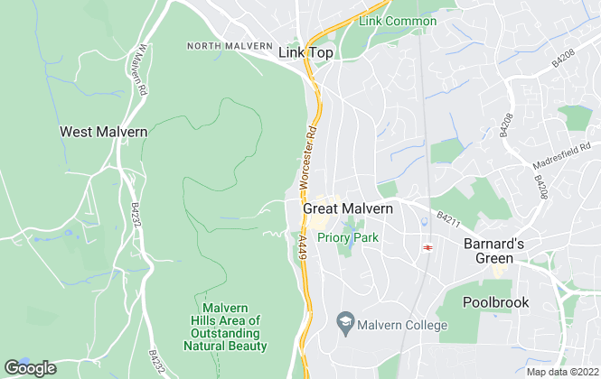 Map for John Goodwin FRICS, Malvern