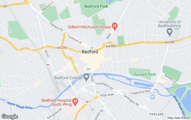 Map for Elevation, Bedford