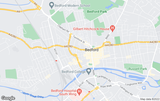 Map for Martin & Co, Bedford - Lettings & Sales