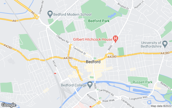 Map for home estate agents, Bedford