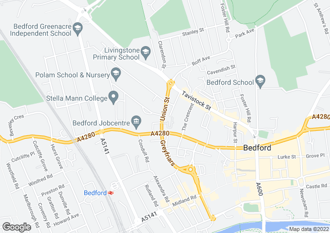 Map for Union Street, Bedford