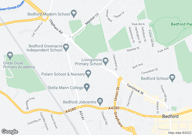 Map for Clapham Road, Bedford