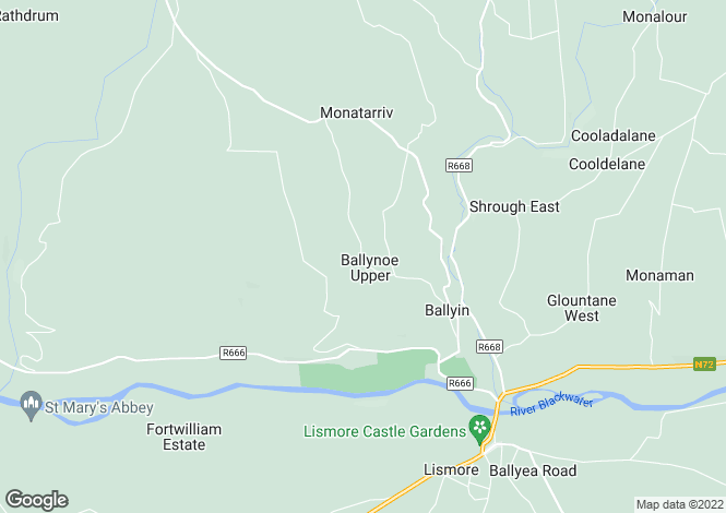 Map for Fourways, Ballyin, Lismore, Waterford