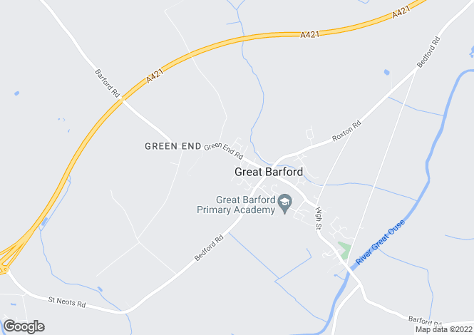 Map for 5 The Brambles, Green End Road, Great Barford, MK44