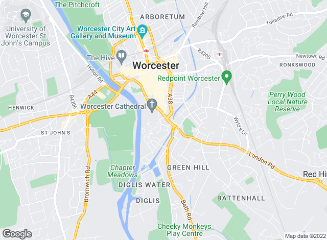 Map for Allan Morris Worcester, Worcester