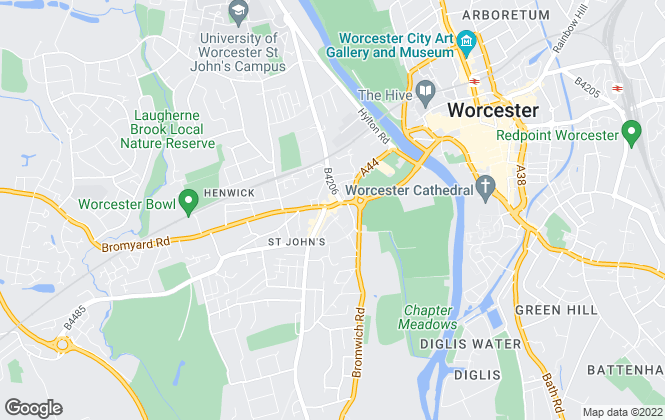Map for Platinum Property Agents, Worcester