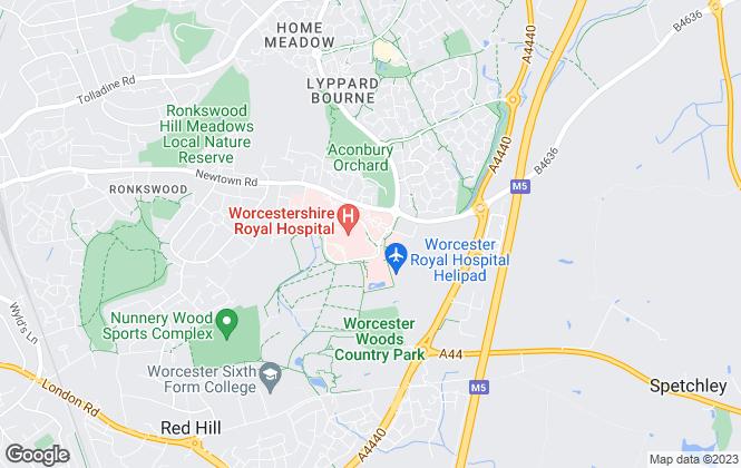Map for Halls Estate Agents, Worcester