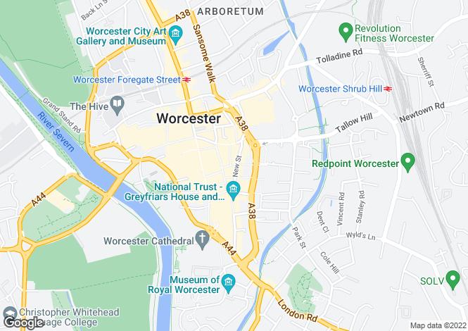 Map for New Street, Worcester, Worcestershire, WR1