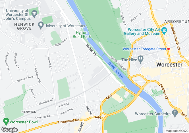 Map for Hylton Road, Worcester