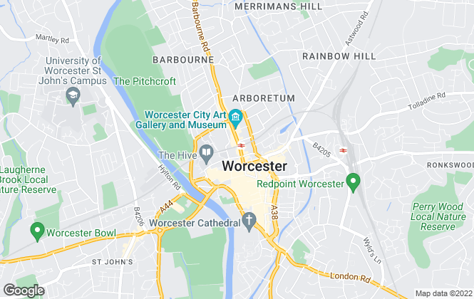 Map for Taylors Estate Agents, Worcester