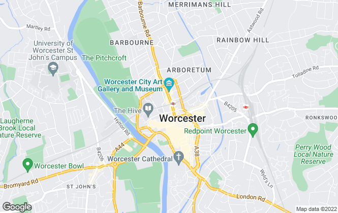 Map for CJ Hole, Worcester