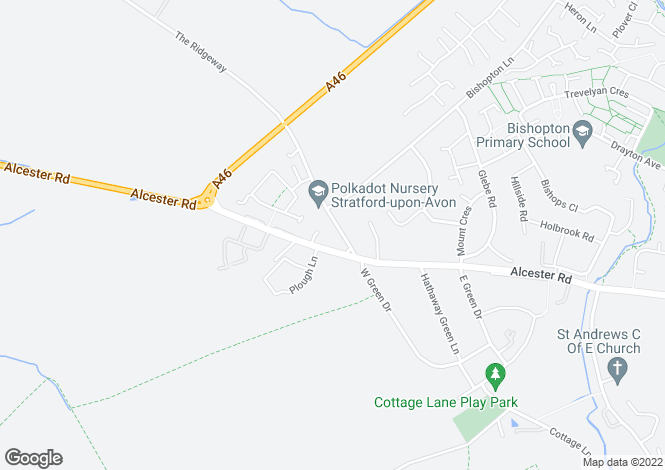 Map for The Ridgeway, Stratford Upon Avon, CV37