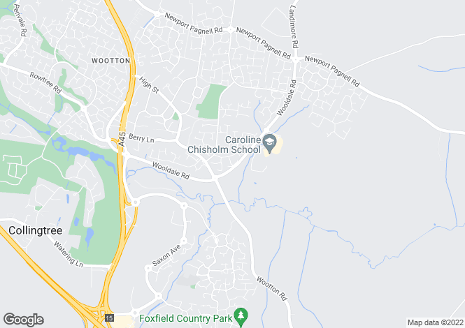Map for Romulus Close, Wootton, Northampton