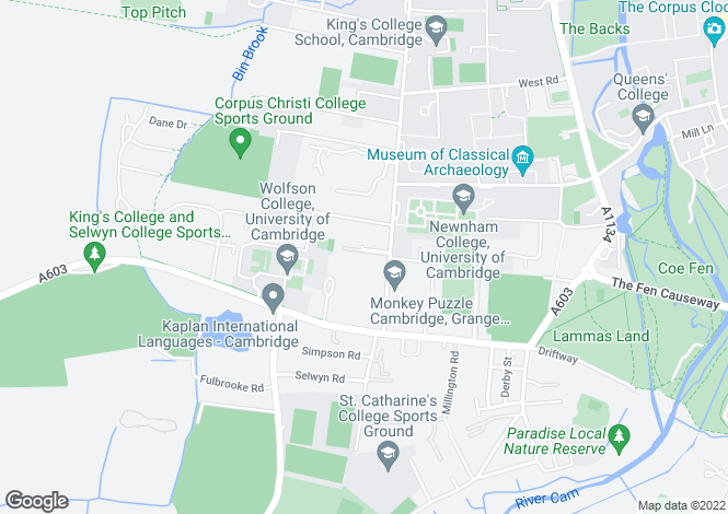 Map for Grange Road, Cambridge, CB3 9AS