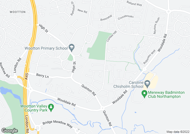 Map for Chisholm Close, Wootton, Northampton, Northamptonshire