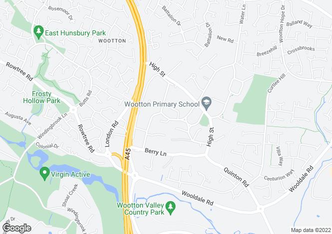Map for Resthaven Road, Wootton, Northampton, NN4