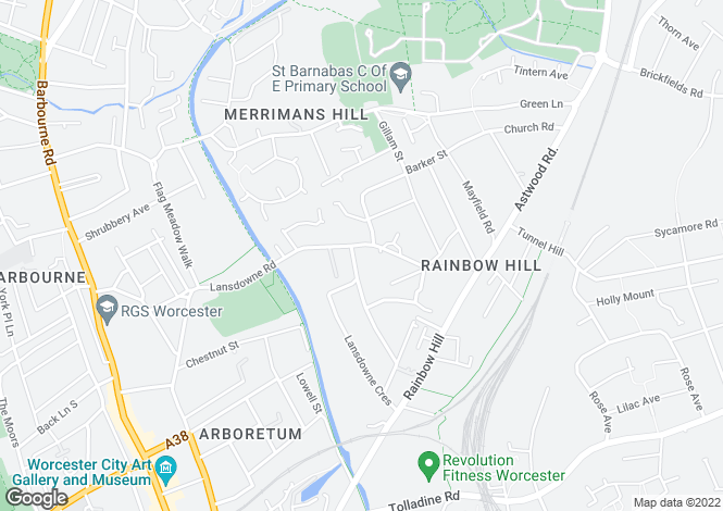 Map for Lansdowne Crescent, Worcester, WR3
