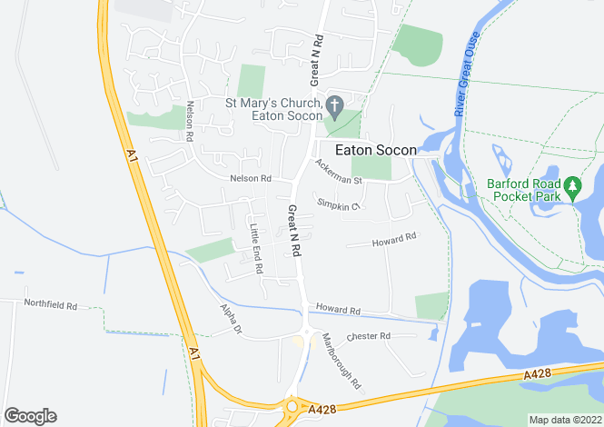 Map for GREAT NORTH ROAD, ST. NEOTS