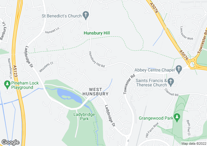 Map for Southcrest, Hunsbury, Northampton