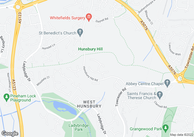 Map for Hunsbury Close, West Hunsbury, Northampton NN4 9UE