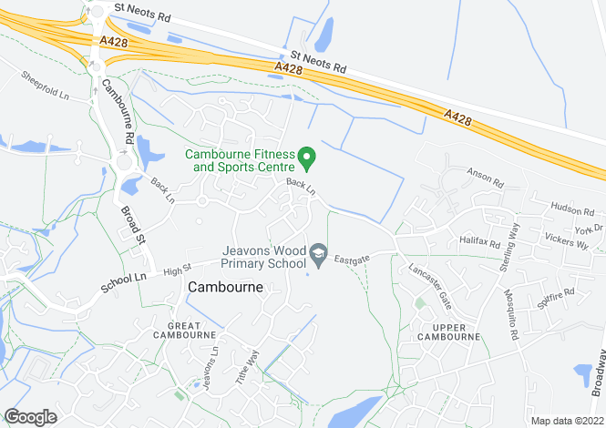 Map for Jeavons Lane, Great Cambourne
