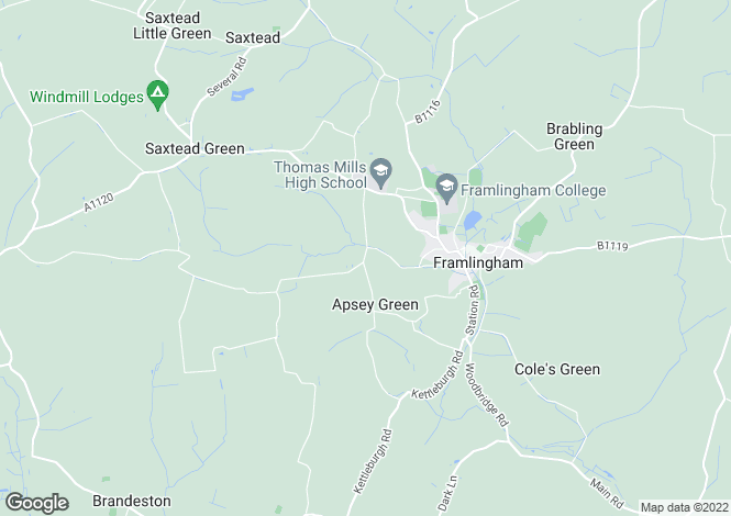 Map for Apsey Green, Framlingham, IP13