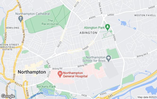 Map for Nicholas Humphreys, Northampton and Cambridge