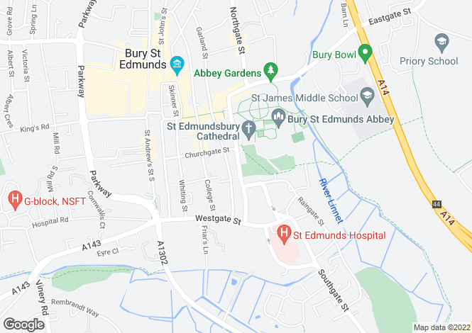 Map for Crown Street, Bury St Edmunds