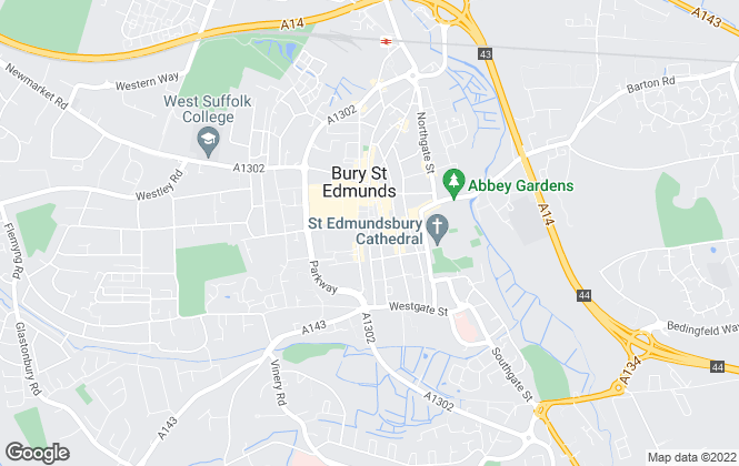 Map for Parkyns, Bury St Edmunds lettings