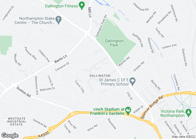 Map for Dallington, Northampton