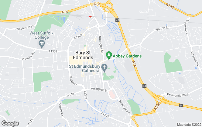 Map for Hall & Sworders, Bury St Edmunds