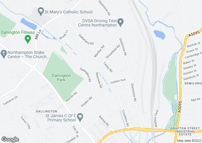 Map for Aberdare Road, Dallington, Northampton NN5
