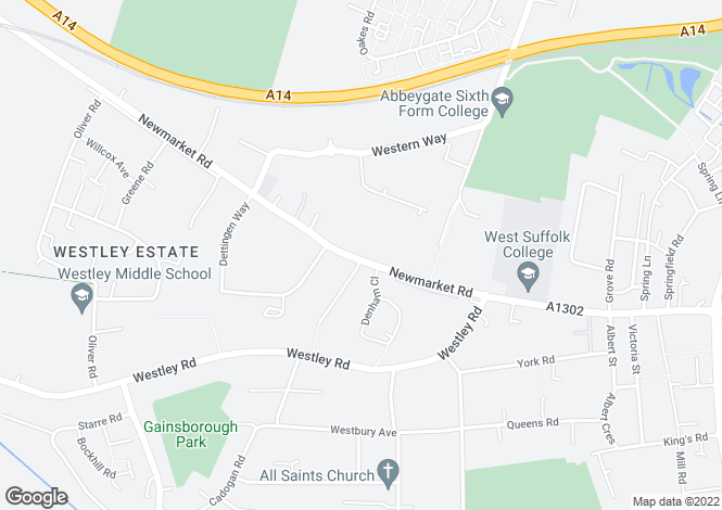 Map for Douglas Close, Bury St Edmunds