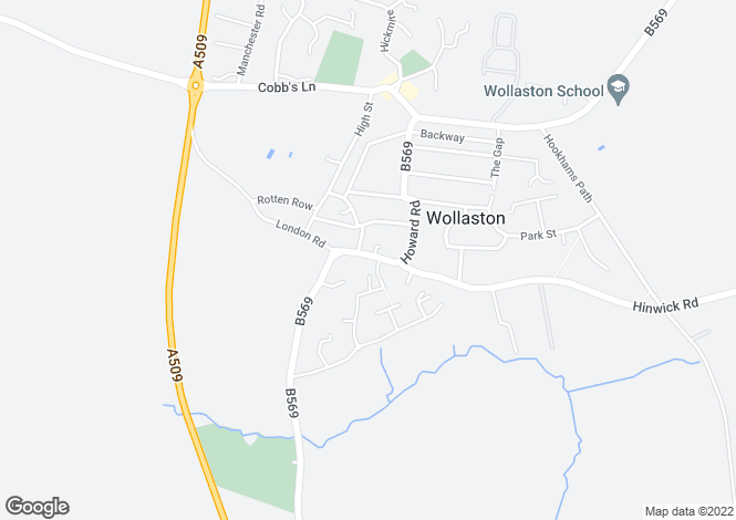 Map for Hinwick Road, Wollaston, Northamptonshire