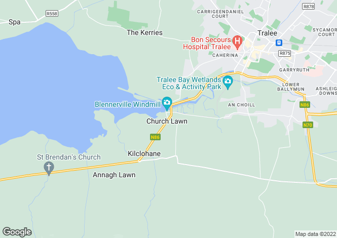Map for Tonevane, Blennerville, Tralee, County Kerry.