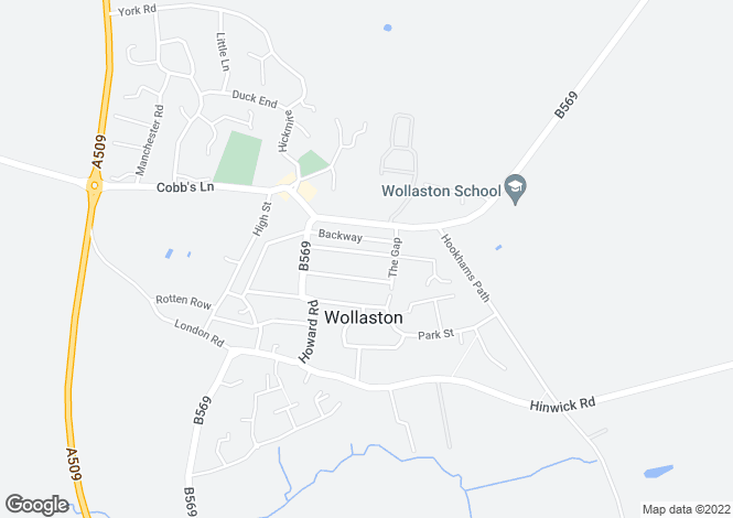 Map for Eastfield Road, Wollaston, Northamptonshire