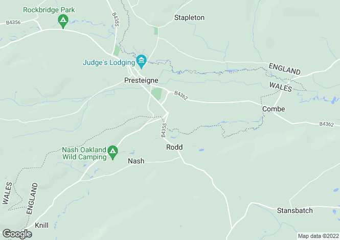 Map for Presteigne, Powys