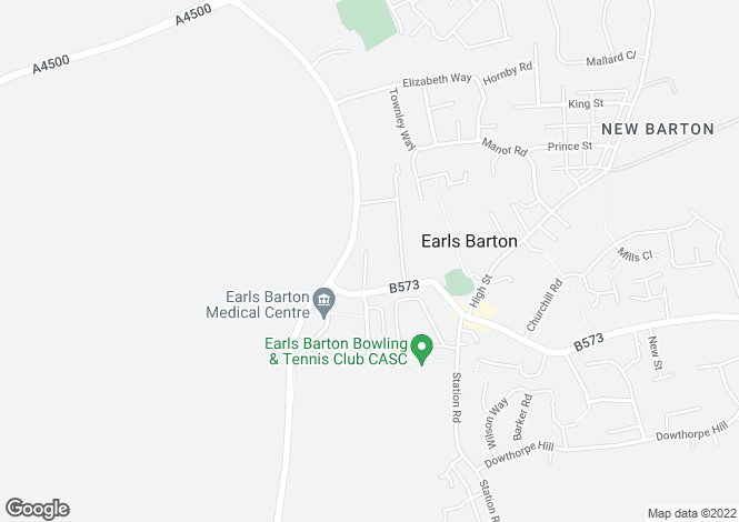Map for Leys Road, Earls Barton