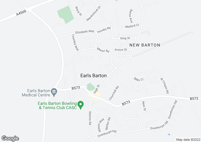Map for Tebbutts Yard, Earls Barton