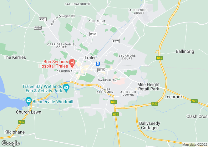 Map for Kerry, Tralee