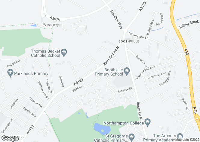 Map for Kettering Road North, Spinney Hill, Northampton