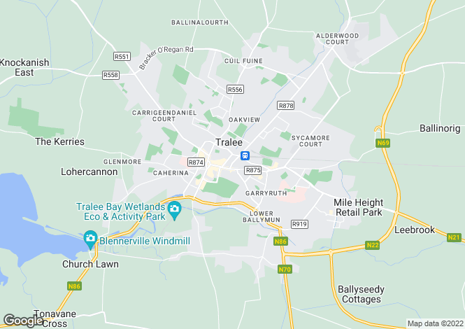 Map for 16 Edward Street, Tralee, County Kerry. V92 D768