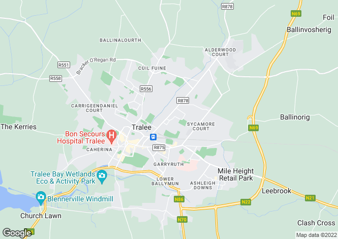 Map for The Mews, Oakpark Road, Tralee, Co. Kerry, V92 X59R