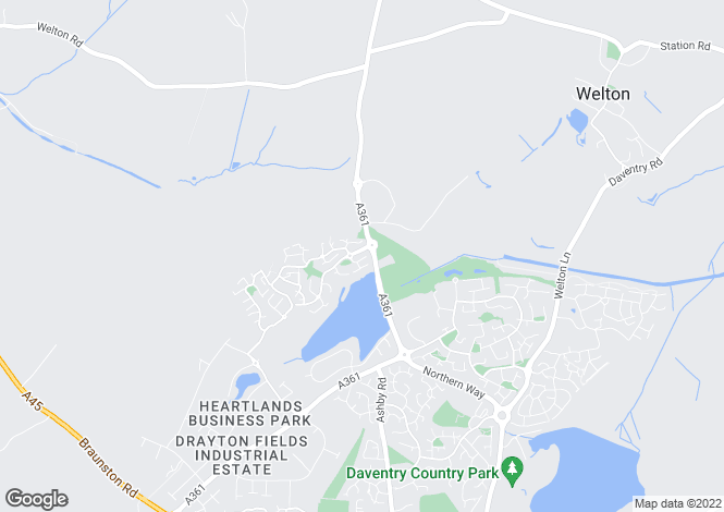 Map for Ickworth Close, Daventry, Northamptonshire