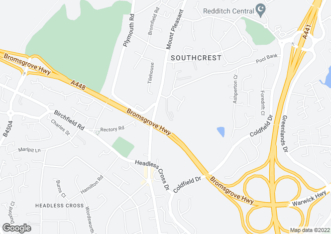 Map for Southcrest Gardens, Redditch, B97