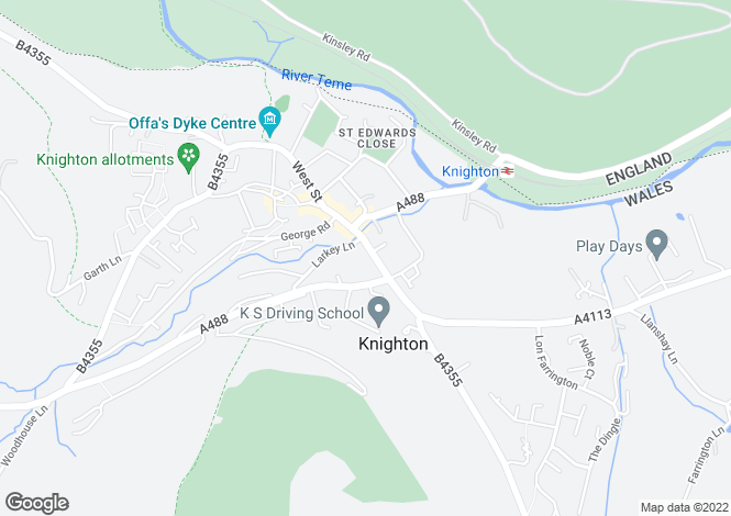Map for Bridge Street, Knighton, Powys