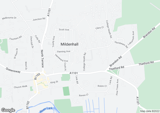 Map for Peterhouse Close, Mildenhall, Bury St. Edmunds